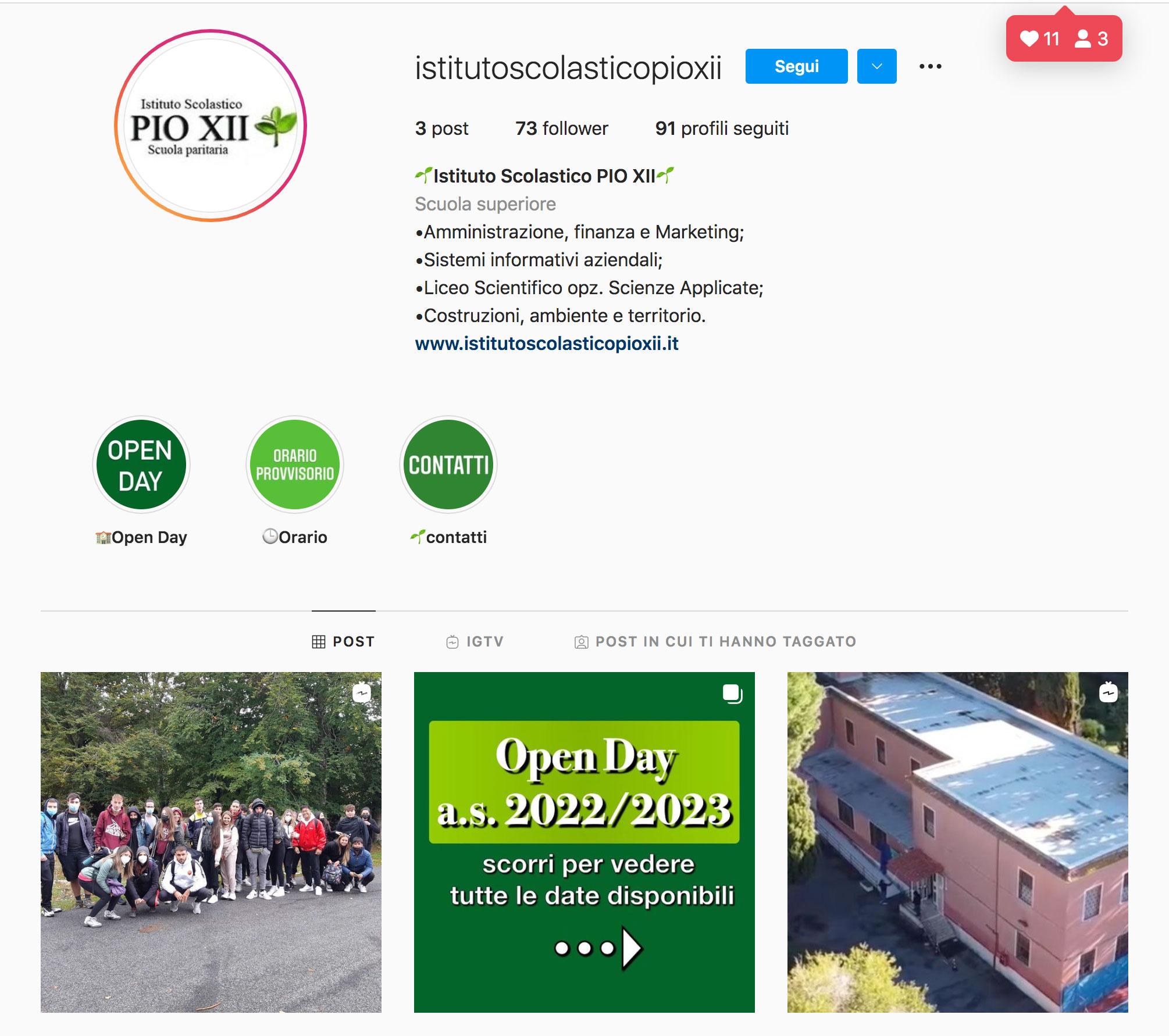 Il profilo Instagram dell'Istituto Scolastico PIO XII