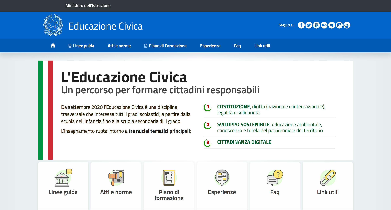 Scuola, online il nuovo portale dedicato all'Educazione civica